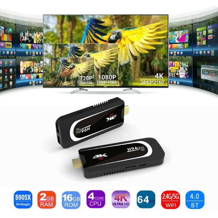 ANDROID TV STICK H96 PRO H3, 4K, QUADCORE, 2GB RAM, 16 GB ROM